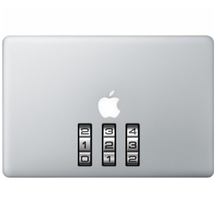 Lock Numbers Macbook Decal Full Colour Decals