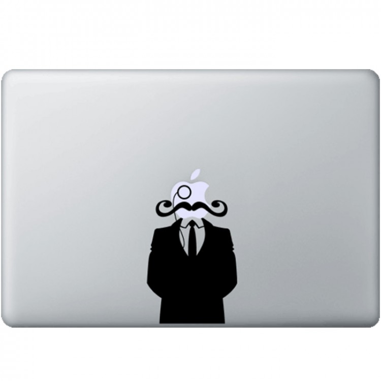 Gentleman With Mustache MacBook Decal Black Decals