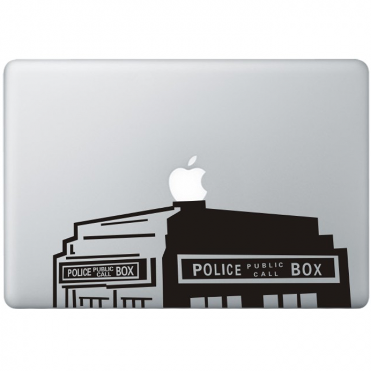 Dr. Who The Tardis (2) MacBook Decal Black Decals