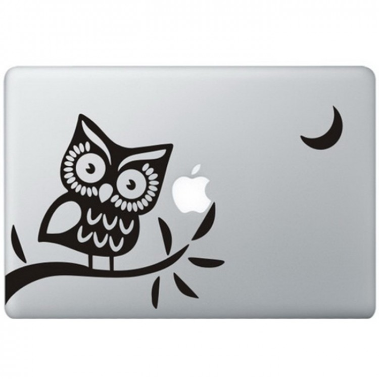 Owl (2) MacBook Decal Black Decals