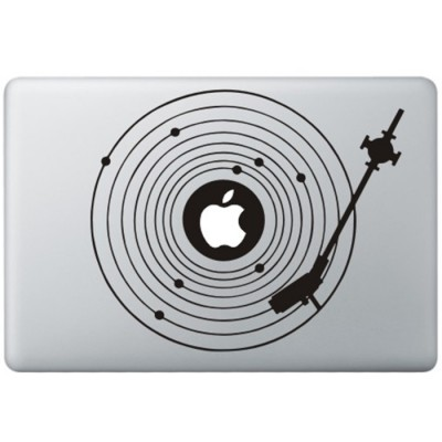 Record Player MacBook Decal Black Decals