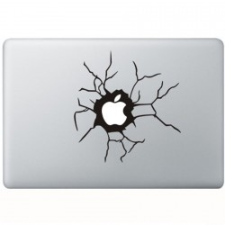 Cracked Apple MacBook Decal