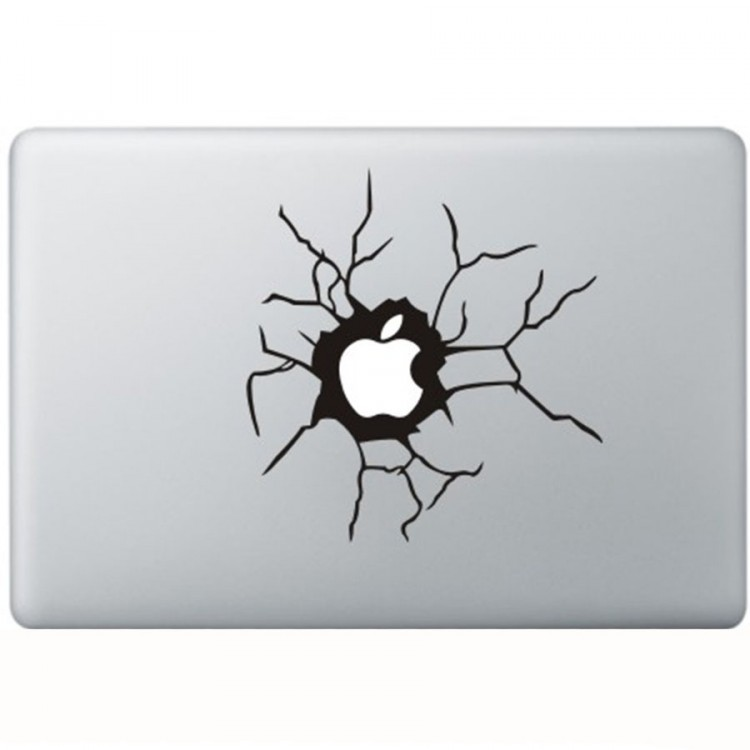 Cracked Apple MacBook Decal Black Decals