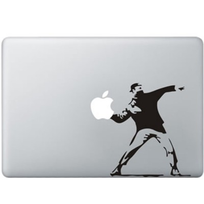 Banksy Throwing Flowers MacBook Decal